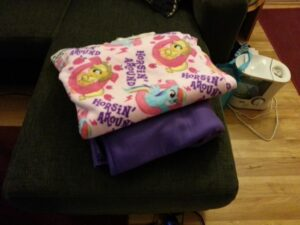 No-sew pony fleece blanket, waiting to be started
