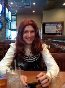 Here I am in a wig. The rest is pretty ordinary. Yup.