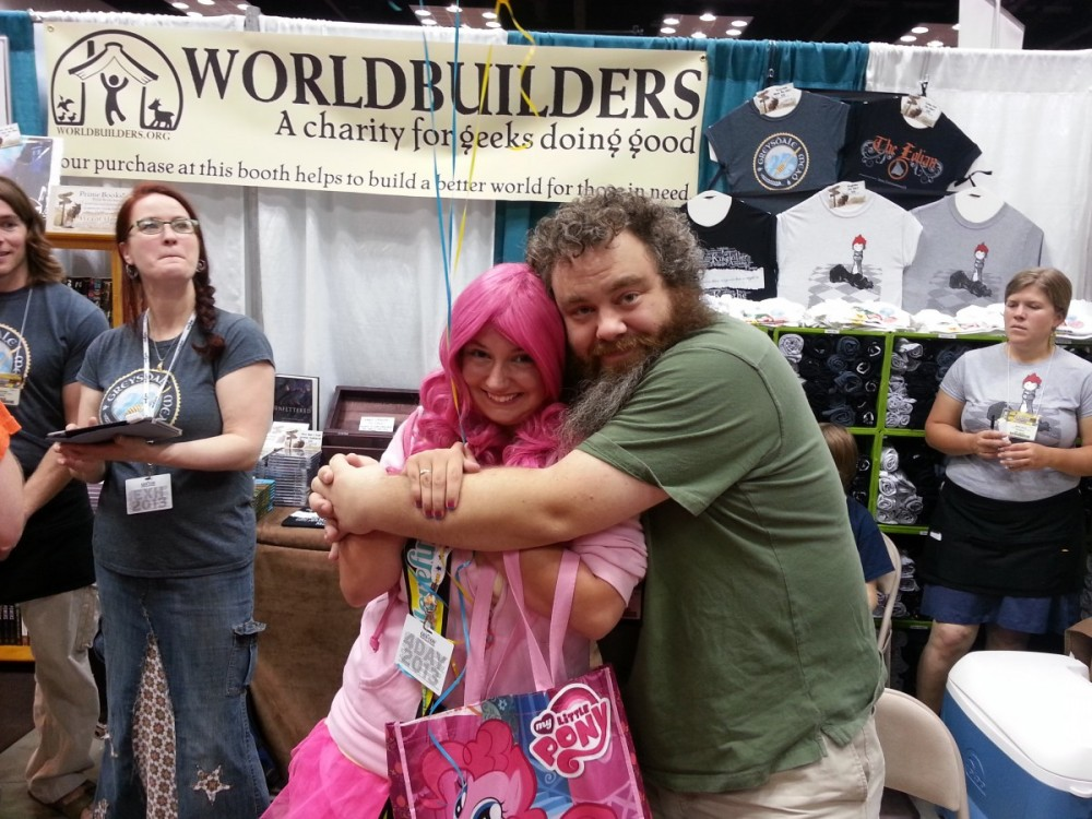 Patrick Rothfuss giving me a huge hug at Gen Con 2013.