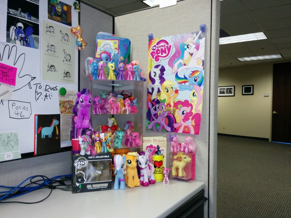 Ross has way more ponies at his desk than I do...
