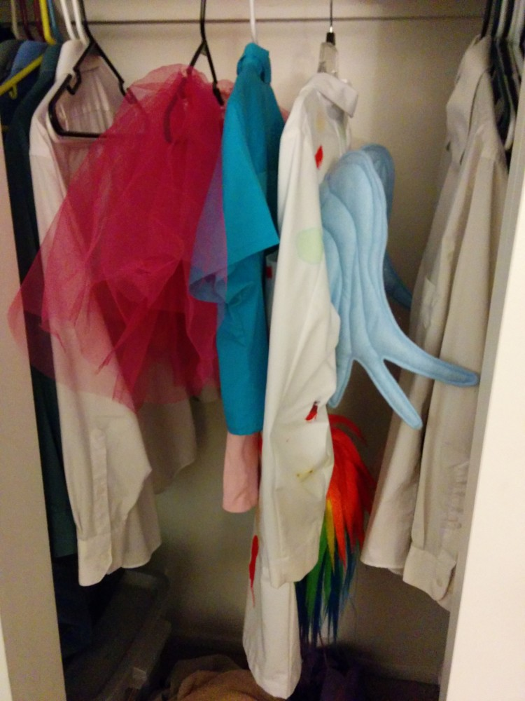 Yes, cute fluffy Pinkie Pie and evil genius Rainbow Factory Dash share a closet sometimes.
