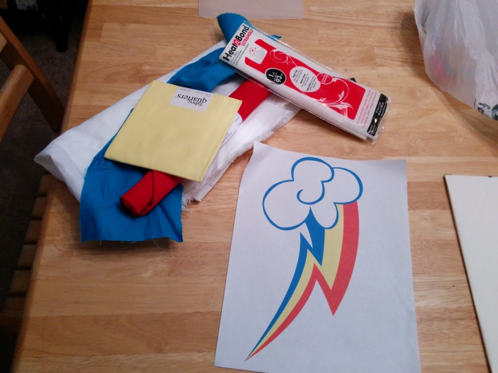 I'm not kidding.  The idea to make a Rainbow Dash cutie mark shirt hit me yesterday afternoon.