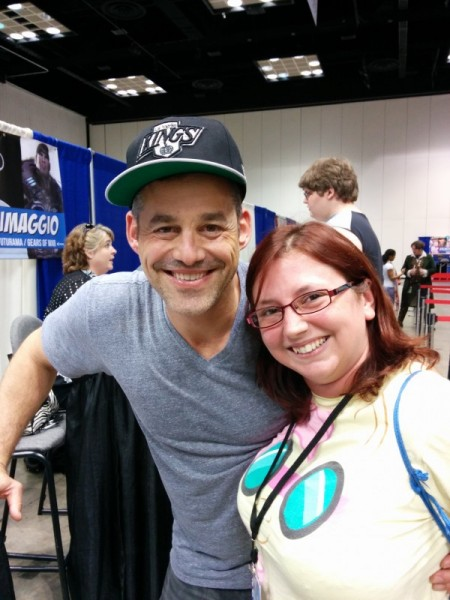 "Nicholas Brendon, who really likes to give hugs!  I may have flailed after this one and said ""OMG I HUGGED XANDER"", haha."