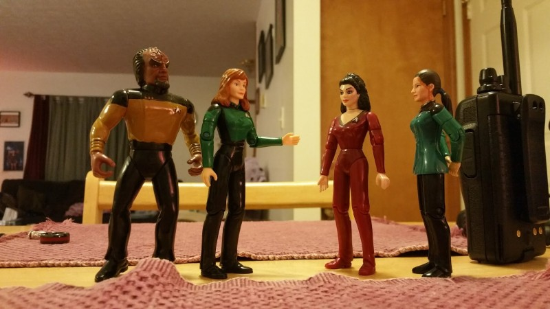 Worf, Dr. Crusher, Troi, and Jadzia, along with Kira (who's not pictured here) make up my Space Friends.
