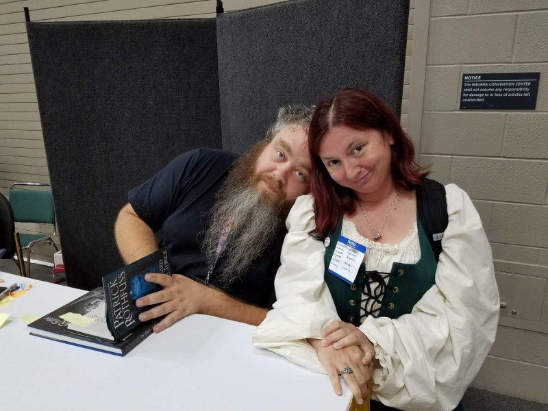 Picture of me, dressed up as Denna, with Patrick Rothfuss leaning on my shoulder.
