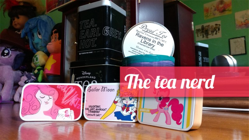 Photo of different types of teas arranged around a mug, with the text The tea nerd superimposed over the image