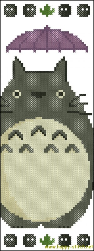 Image of a cross-stitch bookmark featuring Totoro.
