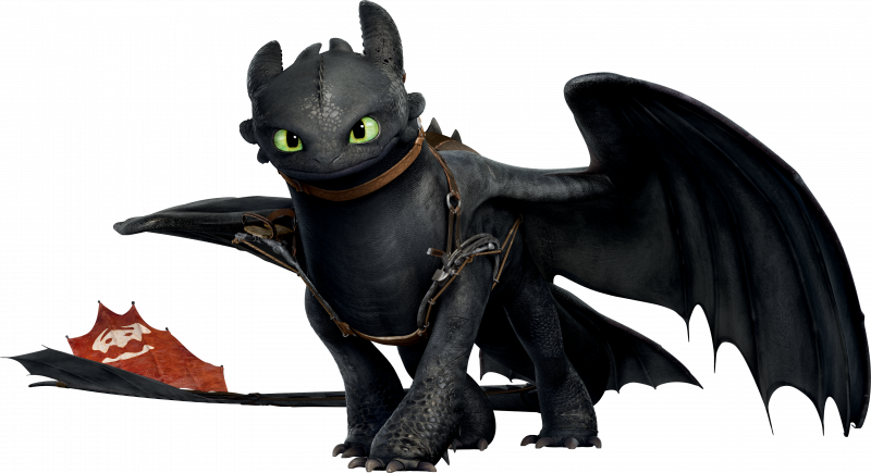 Toothless the Dragon from How To Train Your Dragon, showing his red prostetic tail fins.