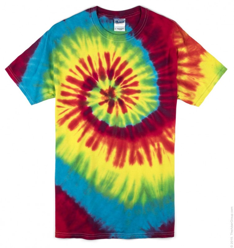 Photo of a rainbow-colored tie-dye t-shirt.