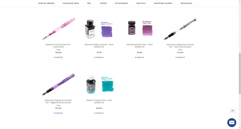 Screenshot of part of my Goulet Pens wishlist, containing a couple of different pens and bottles of ink.