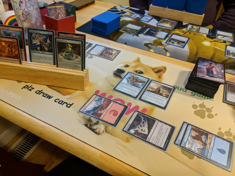 A Magic: The Gathering game in progress