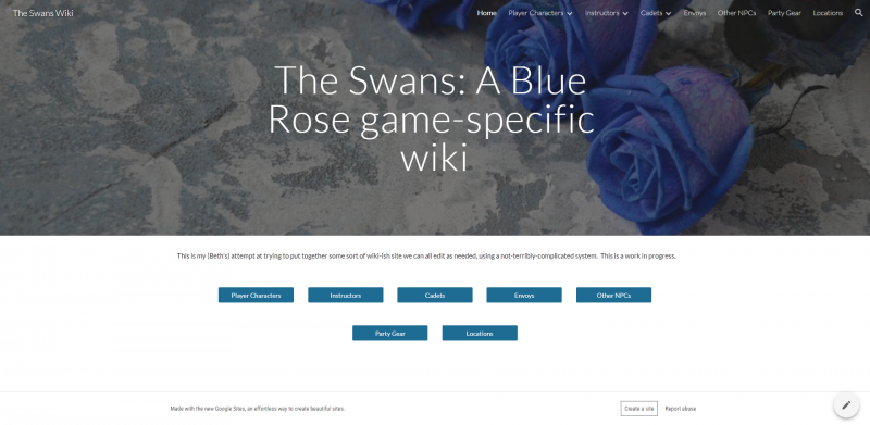 Screenshot of the wiki for the Blue Rose game I play in.