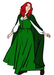 Red-headed woman wearing a green and white dress with a dark green cloak.