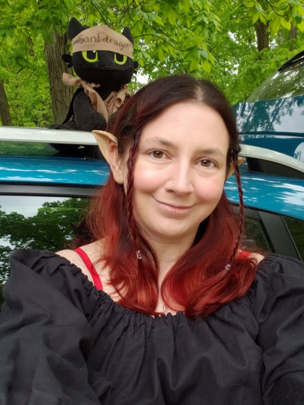 "Me, dressed up as my Kishar character, Ëlinyr. In the background, on the car behind me, is a plush Toothless wearing a brown headband that says ""sand dragon""."