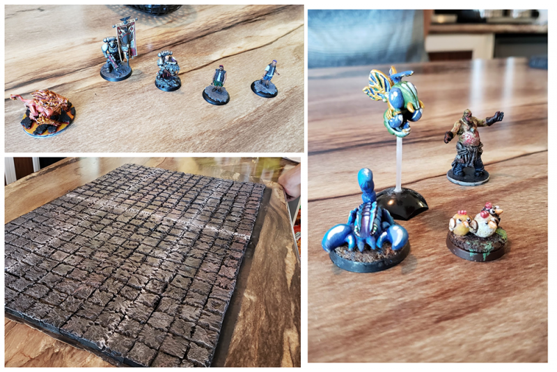 Photo collage of a number of different minis and some homemade mini terrain.