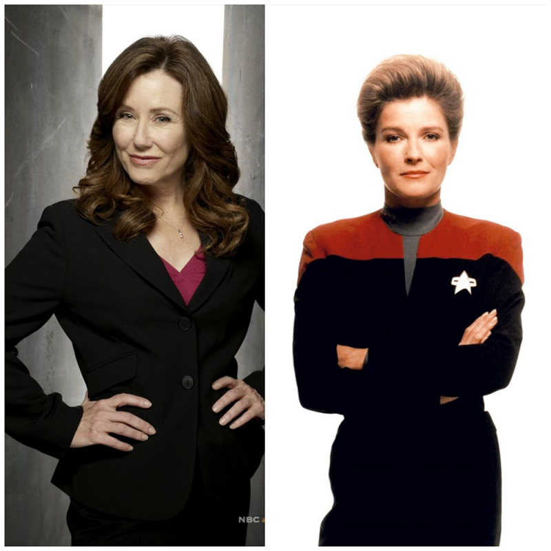 Photo-collage of President Laura Roslin (left) from Battlestar Galactica and Captain Kathryn Janeway (right) from Star Trek Voyager.