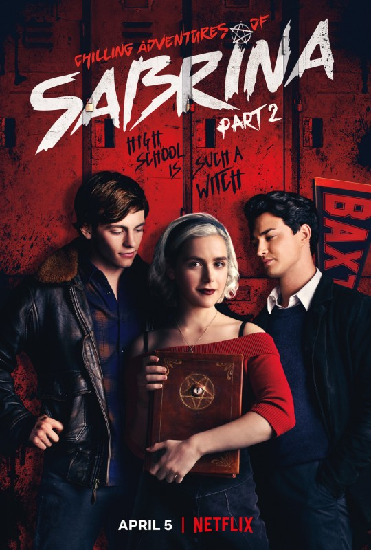 Harvey, Sabrina, and Nick from the tv show Chilling Adventures of Sabrina.