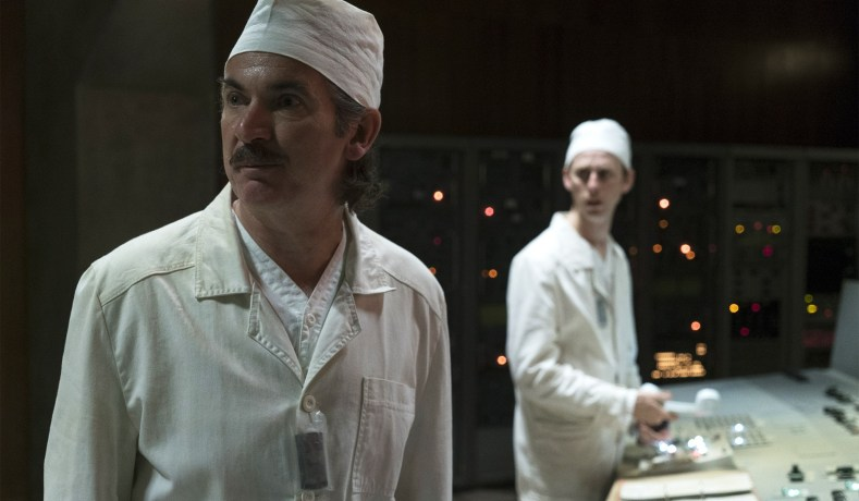 What I'm watching in June: Chernobyl. Image is from the beginning of the first episode, featuring two of the power plant workers.