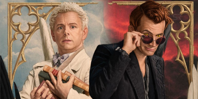 What I'm watching in June: Good Omens. Image features Aziraphale and Crowley from the show.