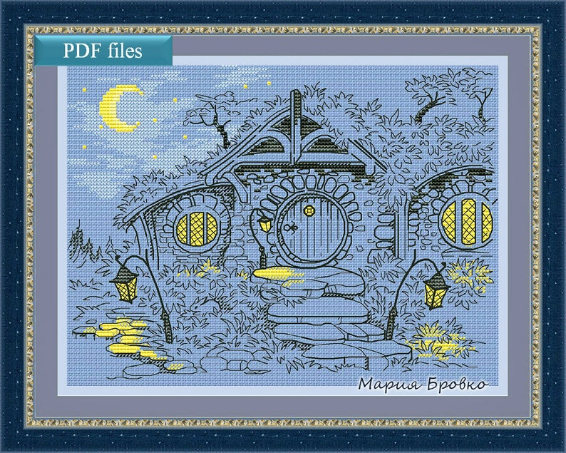 "A June 2019 nerdy tidbit: Picture of the cross stitch pattern ""Evening in the Shire""."