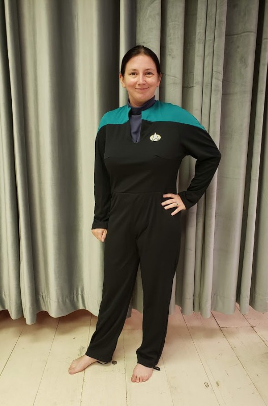 Me in my newly altered Starfleet uniform for my Jadzia Dax cosplay!