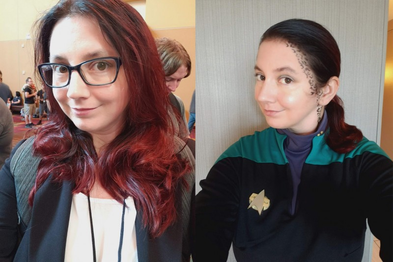 My Gen Con 2019 cosplay photos - President Roslin on the left, and Jadzia Dax on the right.