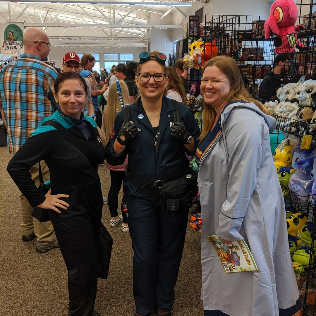 Myself as Jadzia, Rachel in her Timebuster gear, and Lizz as the 13th Doctor.
