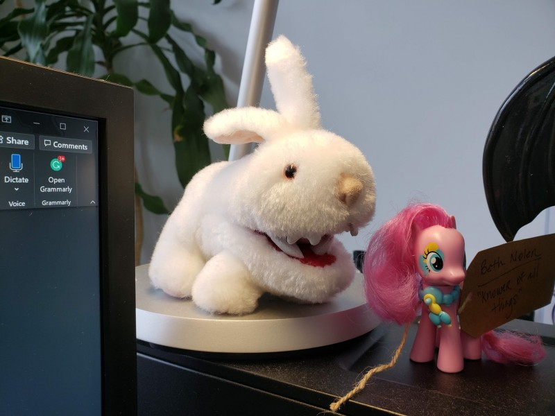 Small plush Monty Python rabbit, next to a Pinkie Pie figurine.