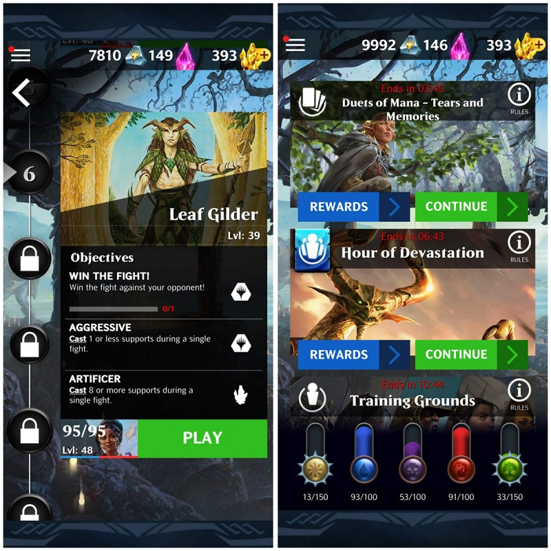 Screenshots from Magic: Puzzle Quest - the left screenshot shows story mode, and the right side shows events.