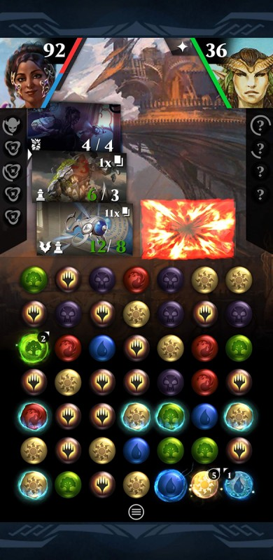 A screenshot of gameplay, where the opponent's only creature was just destroyed by a stack of 12 thopter tokens.