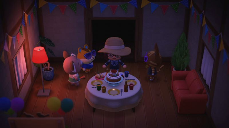 Screenshot of a birthday party in Animal Crossing.