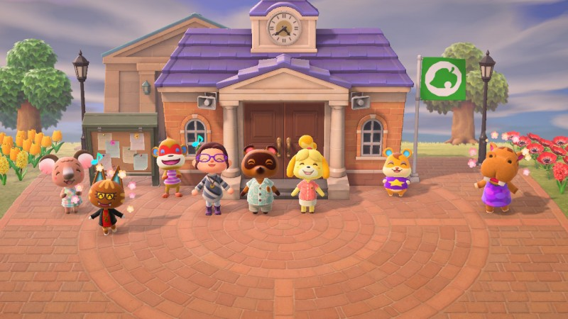 Screenshot of a celebration in Animal Crossing.