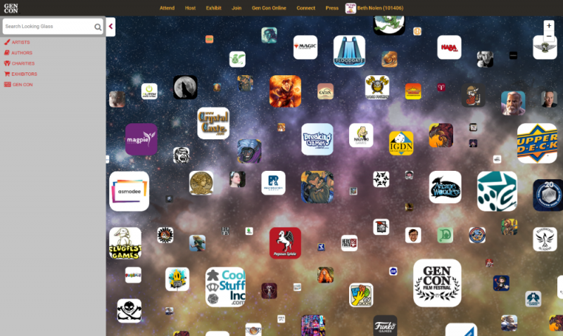 Screenshot of The Looking Glass, which displays logos for vendors at Gen Con in a cloud format.