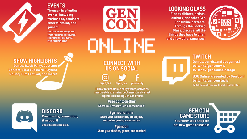 Infographic describing what you can do at Gen Con Online. To learn more, visit the URL this image links to.