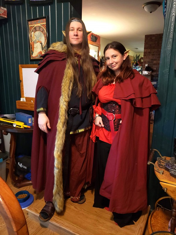 Photo of J dressed as his Kishar non-player character Alair, and myself dressed as Ëlinyr