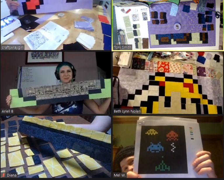 Screenshot of the camera feeds of everyone participating in the Quilting 201 workshop on Thursday evening.