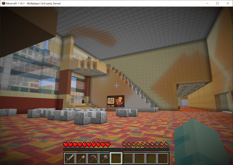 One of the hallways in the Indiana Convention Center, recreated in Minecraft.