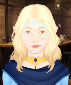 Illustration of a woman with gold-tinted skin, golden blond hair, and light blue tattoos on her face. One eye is silver, and the other is gold.